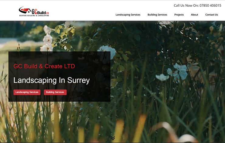 Website Design for GC Build and Create ltd | Landscaping in Surrey