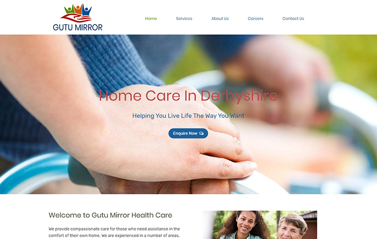 Website Design for Home care in Derbyshire | Gutu Mirror Health Care