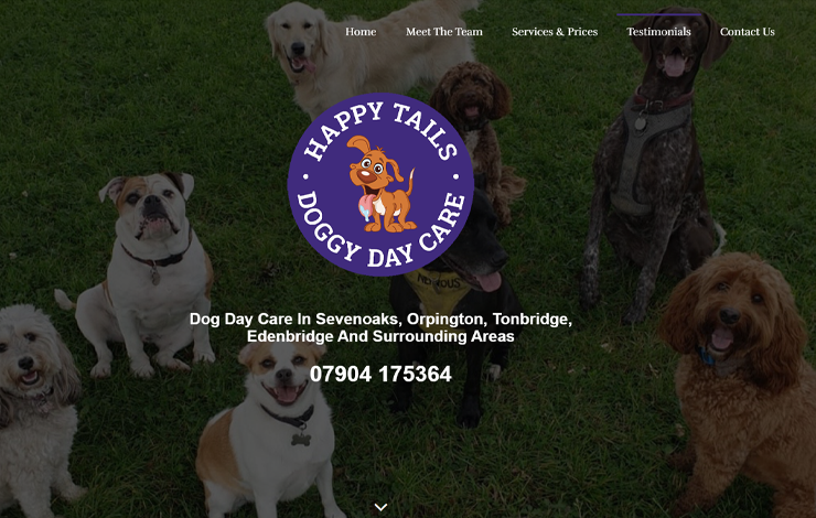 Website Design for Dog Day Care in Sevenoaks | Happy Tails Ltd