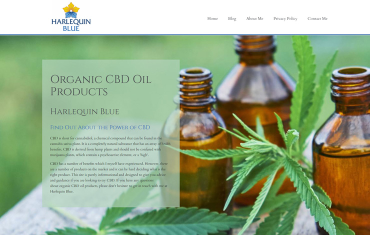 Website Design for Learn About Organic CBD Oil Products | Harlequin Blue
