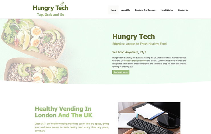 Website Design for Healthy Vending in London | Hungry Tech