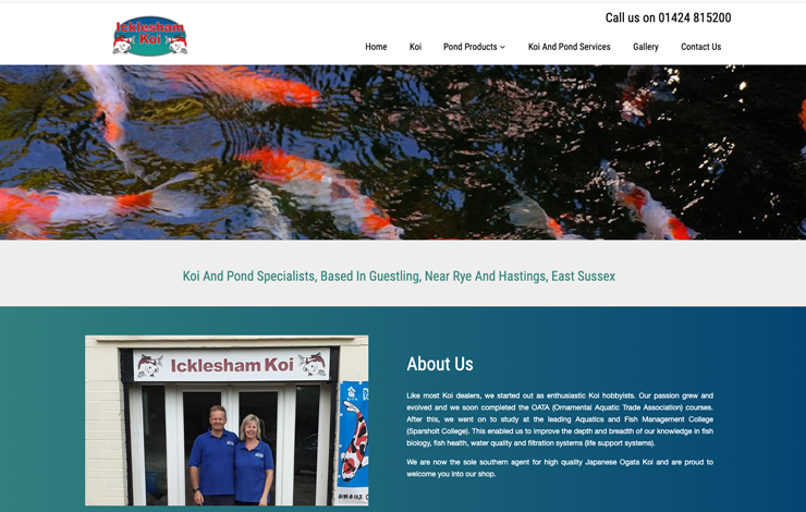 Website Design for Icklesham Koi | Koi and Pond Specialists in East Sussex