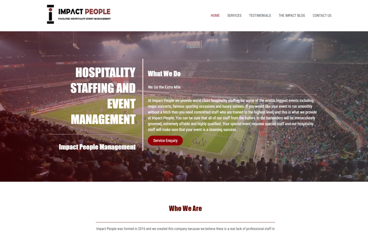 Website Design for Hospitality staffing and event management