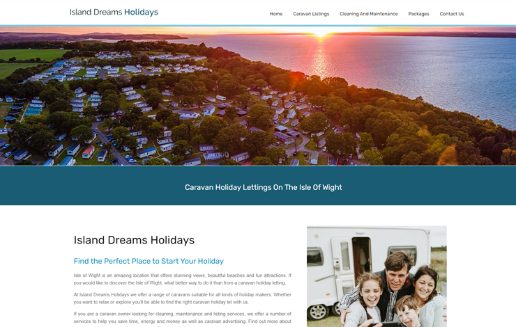 Website Design for Island Dreams Holidays | Caravan Holiday Lettings Isle of Wight