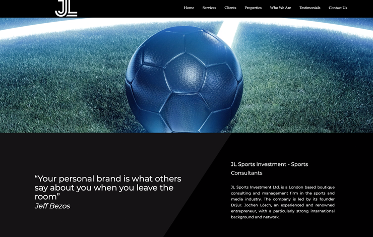 Website Design for JL Sports Investment | Sports Consultants UK