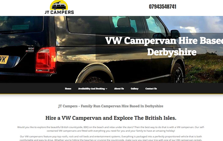 Website Design for VW Campervan Hire in Derbyshire | JT Campers