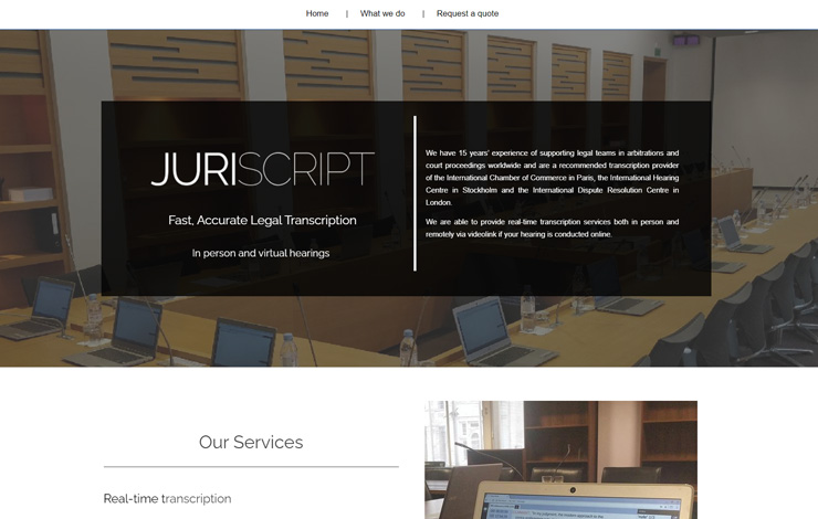 Website Design for Juriscript | Real Time Transcription in UK