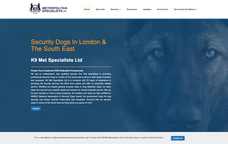 Website Design for K9 Met Specialists LTD | Security Dogs in London & The South East