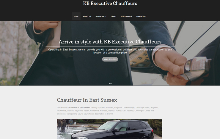 Website Design for Chauffeur in East Sussex | KB Executive Chauffeurs
