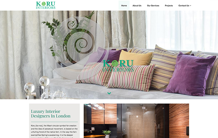 Website Design for Luxury Interior Designers in London | Koru Interiors | Home