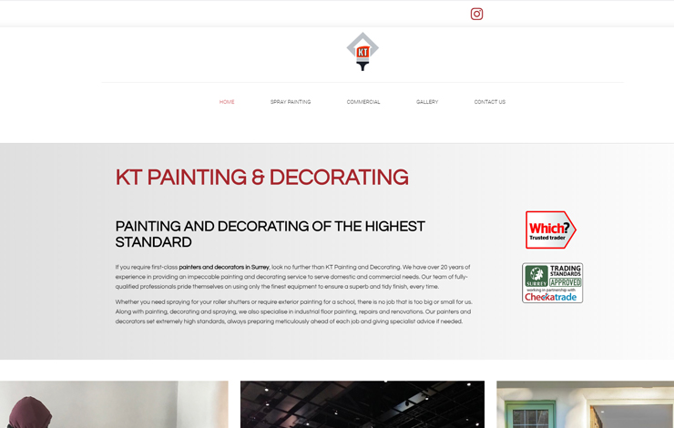 Website Design for KT Painting & Decorating | Painters and Decorators in Surrey