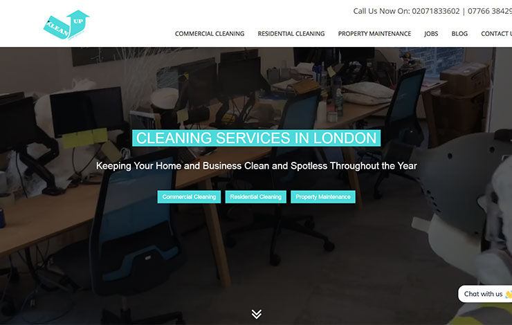 Website Design for Klean Up Support Services | Cleaning services in London