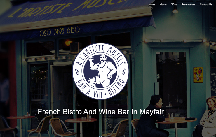 Website Design for French Bistro and Wine bar in Shepherd Market