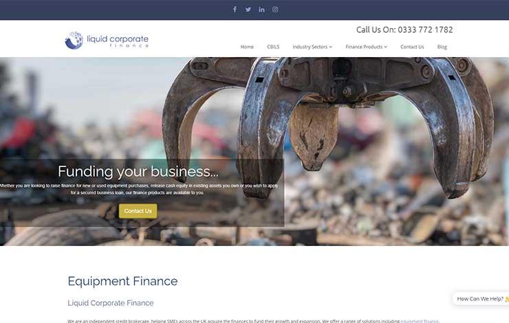 Website Design for Liquid Corporate Finance   Equipment Finance in the UK