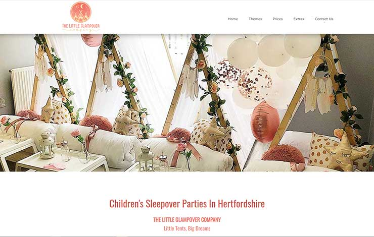Website Design for Children's Sleepover Party in Hertfordshire | The Little Glampover Company