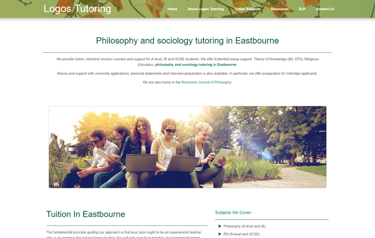 Website Design for Philosophy and Sociology Tutoring in Eastbourne
