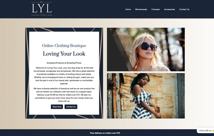 Website Design for Loving Your Look | Online Clothing Boutique