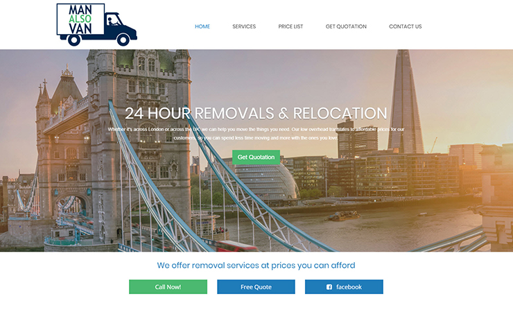 Website Design for Man and van services in London UK | Removals