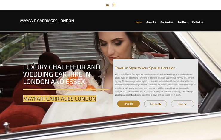 Website Design for Wedding car hire and luxury chauffeur in London