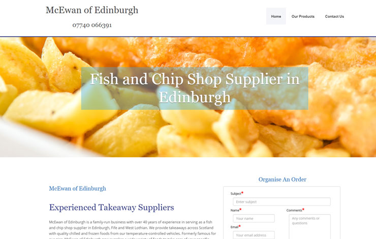 Website Design for Fish and chip shop supplier in Edinburgh | McEwan of Edinburgh
