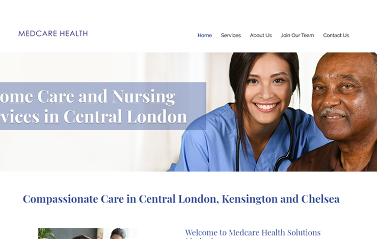 Website Design for Home Care And Nursing Service in Chelsea  | Medcare Health Care