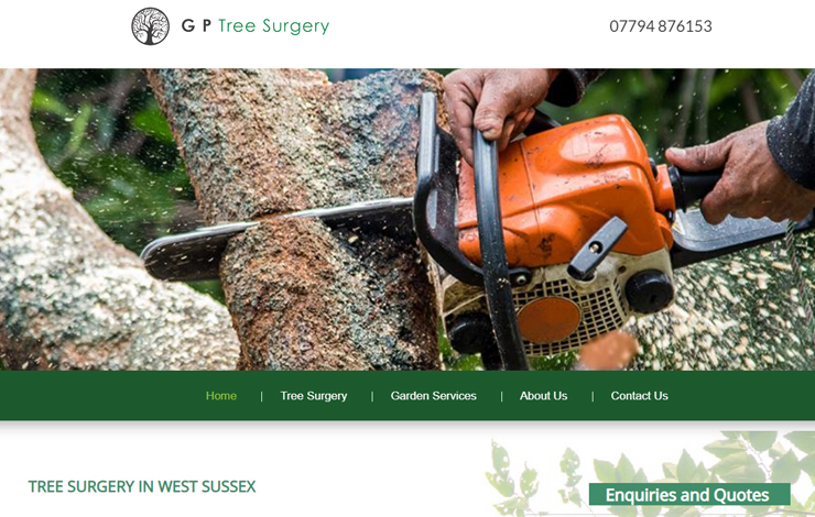 Website Design for Tree Surgeon and Landscaping | G P Tree Surgery