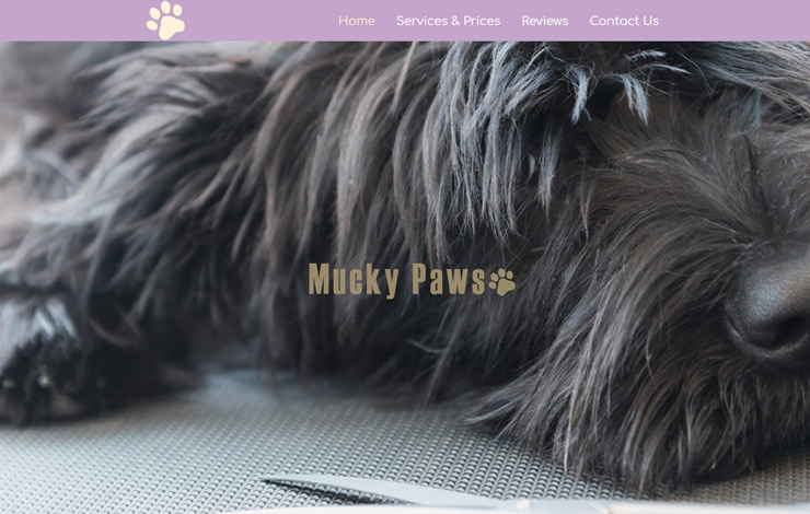 Website Design for Dog Grooming in Coulsdon | Mucky Paws