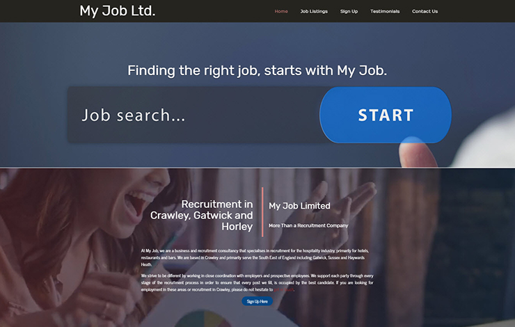 Website Design for Recruitment in Crawley | My Job Limited