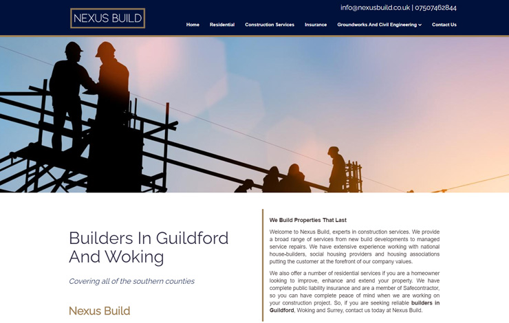 Website Design for Nexus Build | Builders in Guildford and Woking