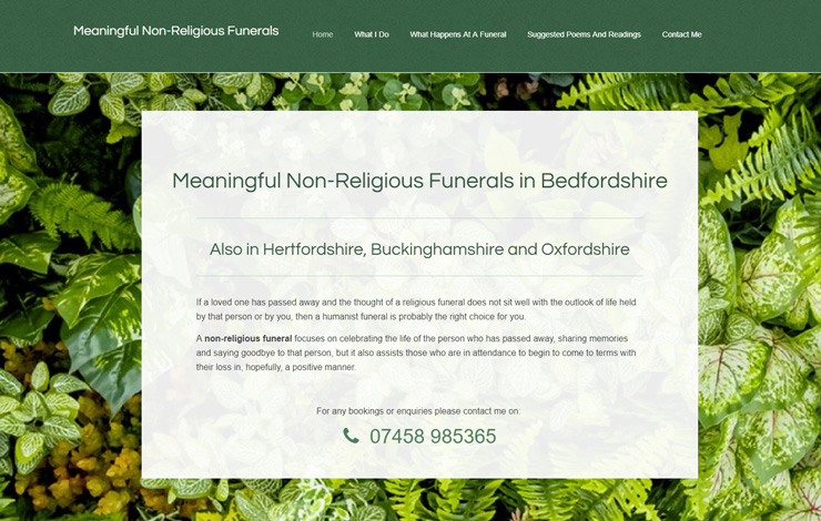Website Design for Non-Religious, Humanist Funerals in Bedfordshire