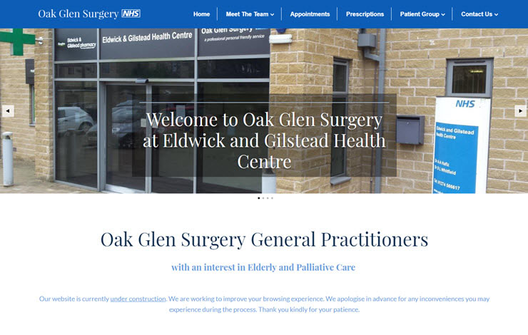 Website Design for Oak Glen Surgery GP serving Bingley, Gilstead and Eldwick