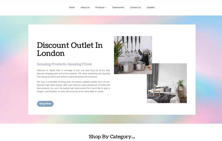 Website Design for Opsie | Discount Outlet in London