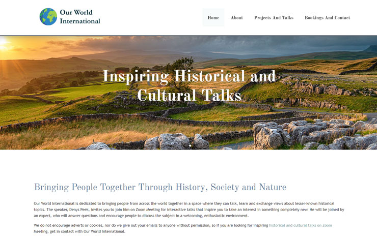Website Design for Historical and Cultural Talks Online | Our World International