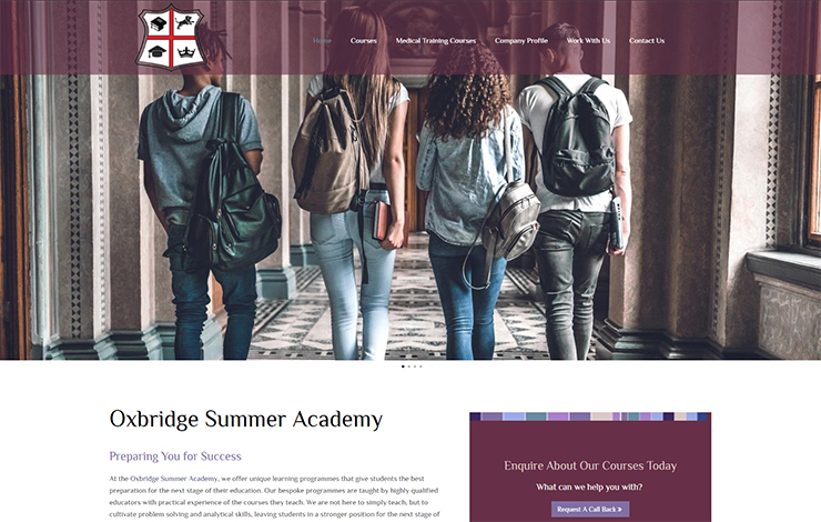 Website Design for Oxbridge Summer Academy