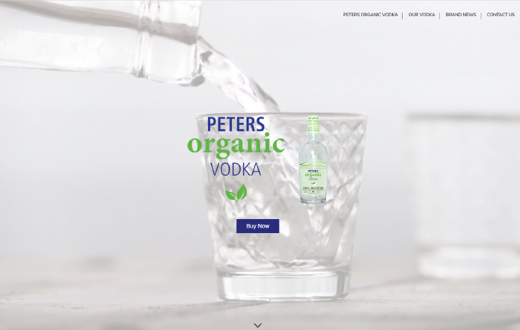 Website Design for Peters Organic Vodka | 100% Organic and British Made