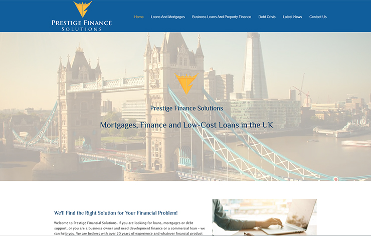 Website Design for Low-Cost Loans in the UK | Prestige Finance solutions