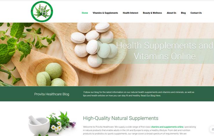Website Design for Health Supplements and Vitamins Online | Provita Healthcare