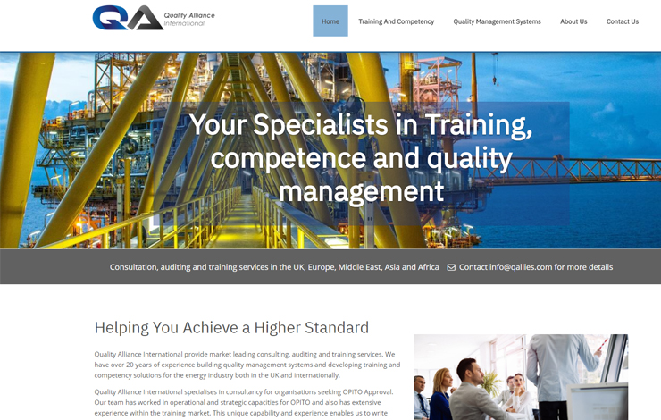 Website Design for OPITO Approval Consultant in Europe | Quality Alliance International