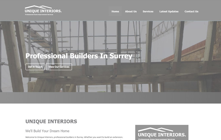 Website Design for Builders in Surrey | Unique Interiors