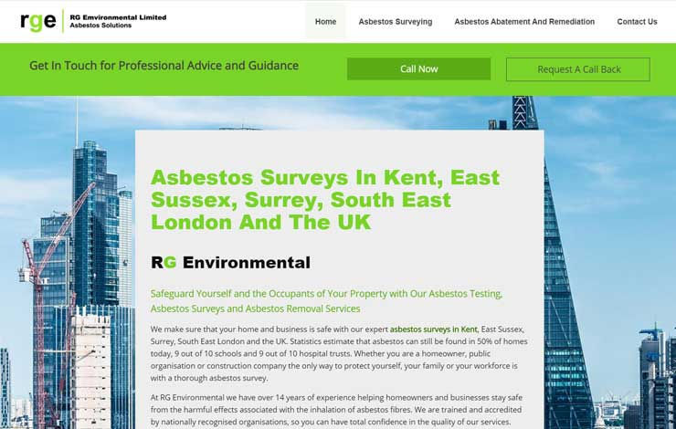 Website Design for Asbestos Surveys in Kent | RG Environmental