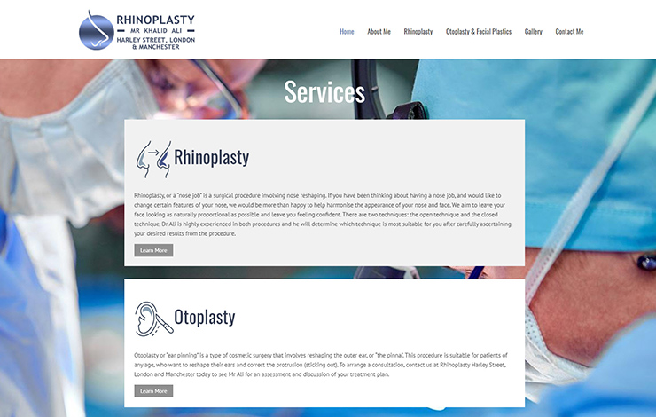 Website Design for Rhinoplasty Harley Street | London And Manchester