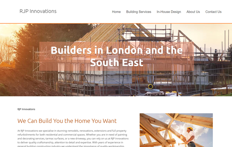 Website Design for RJP Innovations | Builders in London and the South East