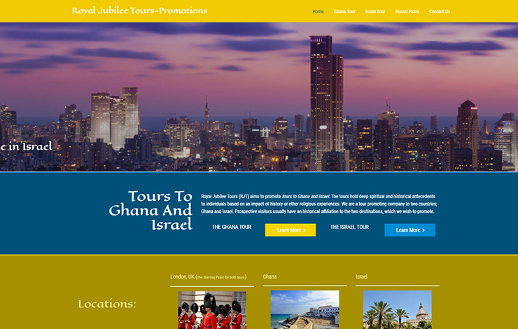 Website Design for Tours to Ghana and Israel | Royal Jubilee Tours-Promotions
