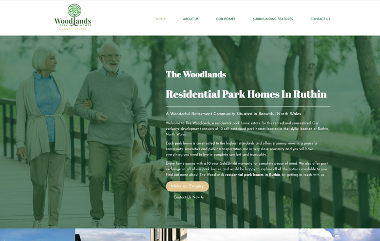 Website Design for Residential park homes in Ruthin | The Woodlands
