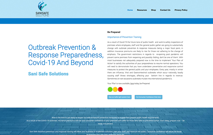 Website Design for Outbreak Prevention & Response Preparedness | Sani-Safe Solutions