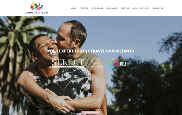Website Design for Gay Travel With Sashay Away Travel