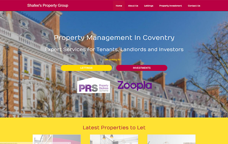 Website Design for Property management in Coventry | Shafee's Property Group | Home
