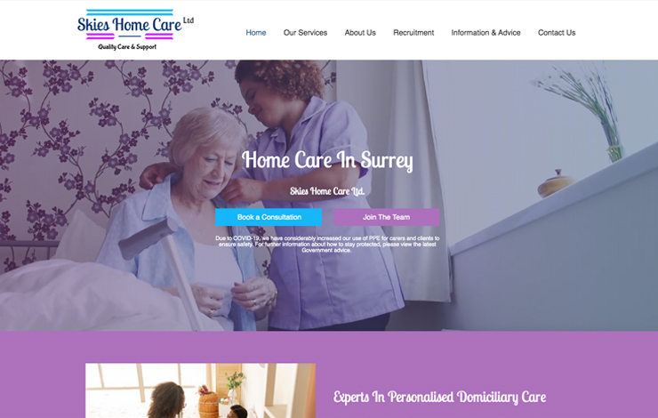 Website Design for Home care in Woking with Skies Home Care Ltd