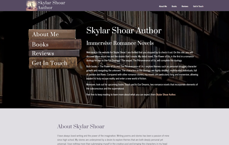 Website Design for Skylar Shoar Author | Romance novelist