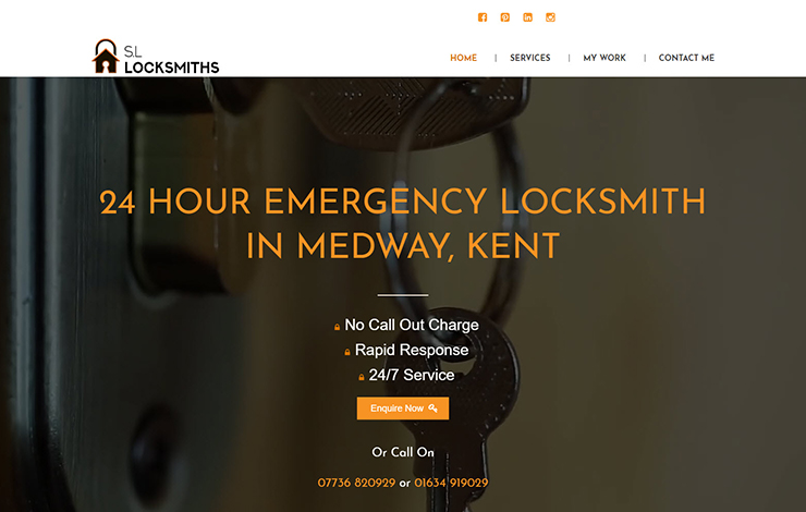 Website Design for 24 Hour Emergency Locksmith in Medway, Kent